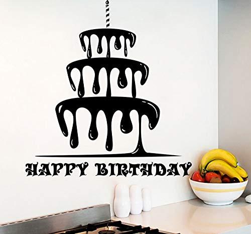 ZJfong 57x61 cm Alles Gute Zum Geburtstag Wandaufkleber Kuchen Muster Vinyl Moderne Kinderzimmer Wandtattoo Innen Happy Holiday Home Decor Wandbild