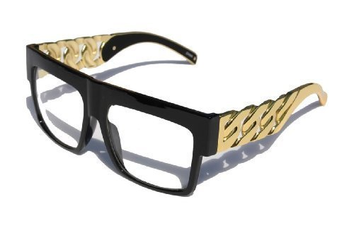 Designer Inspired Thick Gold Link Chain clear Flat Top Unisex Glasses Black by MODA