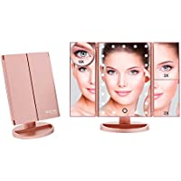 Boston Tech BE-104 - Espejo de Maquillaje con Luz Ajustable, Cuerpo Plegable, Color Oro Rosa. 21 Luces LED, 3 Espejos con Aumento (2X, 3X, 10x). 180º Grados de rotación.