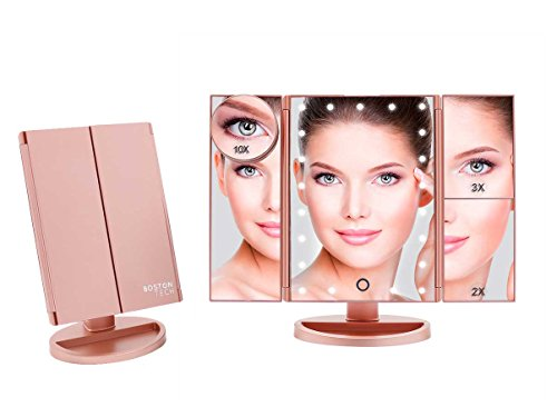 Boston Tech BE-104 - Espejo de Maquillaje con Luz Ajustable,...