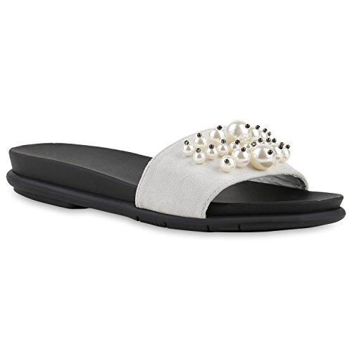 Damen Sandalen Pantoletten Schlappen Zierperlen Sommerschuhe Hellgrau