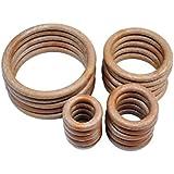 Proops Macrame Rings Wood Effect 38 50 76 101 mm 5 of each total of 20 in pack. (S7330) Free UK Postage