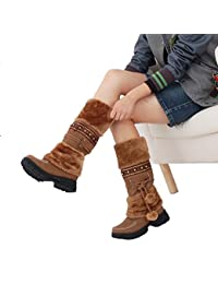 XKMON Pom Pom Botas Planas de Nieve Zapatos de Invierno para Mujer