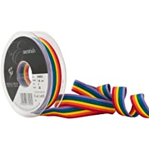 Berisfords Cinta a rayas arco iris 15 mm, multicolor