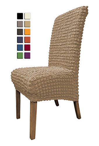 SCHEFFLER-HOME Julia Chair Covers for Dining Room 2 Pcs, Stretch Chaircover, Elastic Slipcover, Decor Cover with Elastic Band, universal Fitting, Spandex Covers for Home, Restaurant - Beige