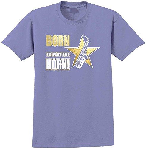 Saxophone Sax Alto Born To Play - Violett T Shirt Größe 86cm 34in Lge 12-13 Jahr MusicaliTee (Saxophon Yamaha Für Kinder)