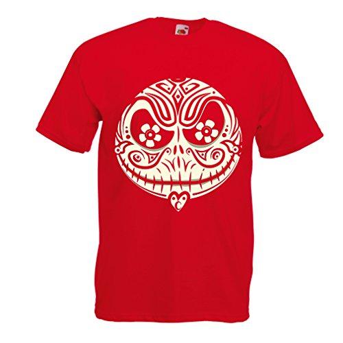 Männer T-Shirt Das Schädel-Gesicht - Der Alptraum - gruselige Halloween-Nacht (XX-Large Rot Mehrfarben)