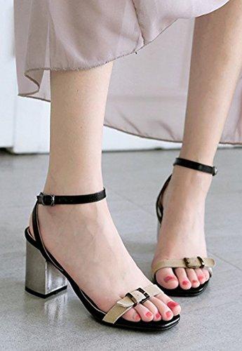 Aisun Femme Mode Bout Ouvert à Talon Bloc Sandales Abricot