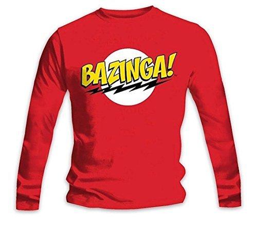 Die Theorie vom Urknall - Bazinga Offiziell Herren Langarm T-Shirt - Rot, Small (Theorie Shirt Aus Baumwolle)