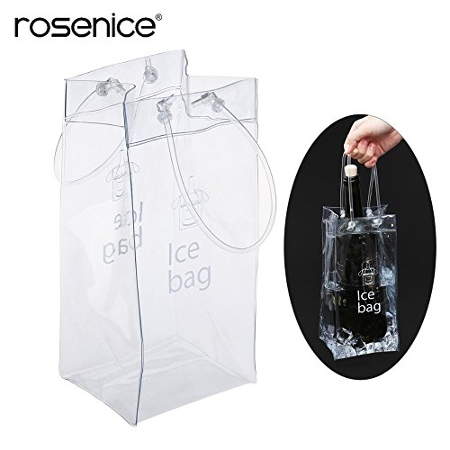 Casavidas Durable Clear Transparent PVC Champagne Wine Ice Bag Pouch Cooler Bag with Handle