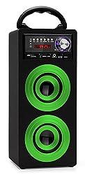 Beatfoxx Beachside BS-20BTG portabler Bluetooth-Lautsprecher tragbare Akku-Lautsprecherbox (USB/SD-Anschlüsse, UKW-Radio, AUX, Tragegriff, Fernbedienung) grün
