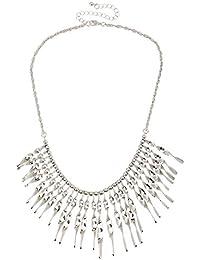 Lureme Europea Tono de plata torcida Bar Collar Declaración borla para las mujeres (nl005490)
