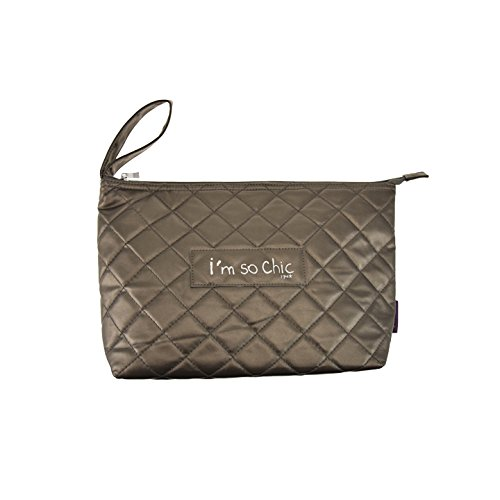 Incidenza 61920 - Trousse da Toilette I' m So Chic bronzo modello grande in ecopelle trapuntato chiusura zip arco di trasporto
