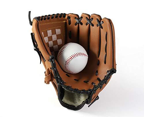 SOWOFA Pitching Trainer Baseball verdicken Infield Pitcher Baseball Handschuhe Softball Handschuhe Teen Model M Größe (11,5 Zoll) Plus senden Baseball One (Brown) (Brown)