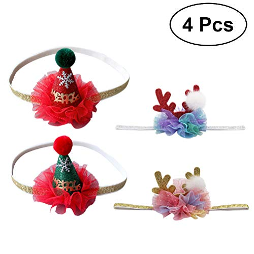 Lurrose 4Pcs Baby Stirnband Weihnachtsmann Mütze Weihnachten Stirnband Hirschgeweih Dekoration Haarband
