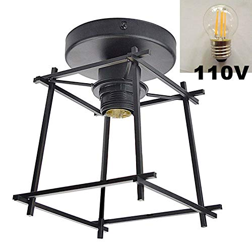 6-licht Halogen-flush (Semi-Flush Mount Deckenleuchte Industriestil Metall Retro Wandleuchte Loft, 1 Licht + 1 E27 6W 110V LED Birne)