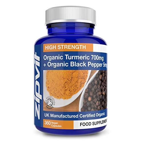 Curcuma Bio 700mg avec Poivre Noir Bio | 360 Gélules | Haute Concentration | Certifié par l'Association Britannique des Terres (British Soil Association) | Végétarien | RÉSERVES D'UNE ANNÉE ENTIÈRE