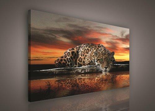 FORWALL Leinwandbild Kunstdruck Wandbild Dekoshop Jaguar und Sonnenuntergang ADPP101 O1 (100cm x 75cm) Canvas Picture Print -