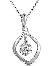 ac34bf95af3c 18ct oro blanco diamante solitario colgante de flor de gota trenzado  vacilándola 40