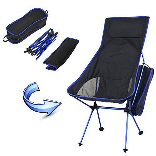 Risilays sedia allungata da campeggio, sgabello in nylon e lega di alluminio con borsa, portatile leggero pieghevole, per escursione pesca caccia spiaggia feste, (blu scuro)