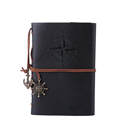 Maleden, diario di viaggio in pelle ad anelli, motivo bussola e ciondolo sul retro black