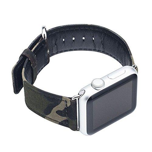 Cuitan Langlebig Leinwand Uhrenarmband für 42mm Apple Watch iWatch, mit Adapter Ersatzband Uhrband Watch Strap Wrist Band Armband Watchband für Apple Watch (Nicht enthalten Uhren) - 5