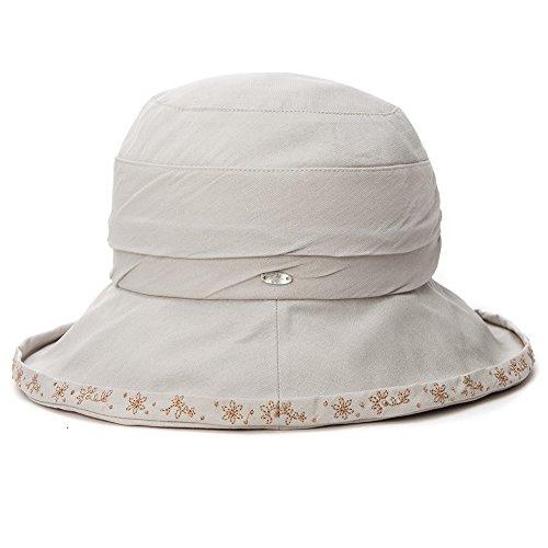 SIGGI Damen Faltbare Sonnenhüte Fischerhüte mit Sonnenschutz SPF 50 + breite Krempe grau - Hat 50 Spf