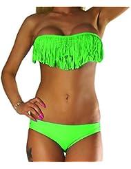ALZORA Neckholder Damen Bikini Set in NEONGRÜN Neon Grün Fransen Tassel Fringe Bandeau Push Up Top und Hose , 20058