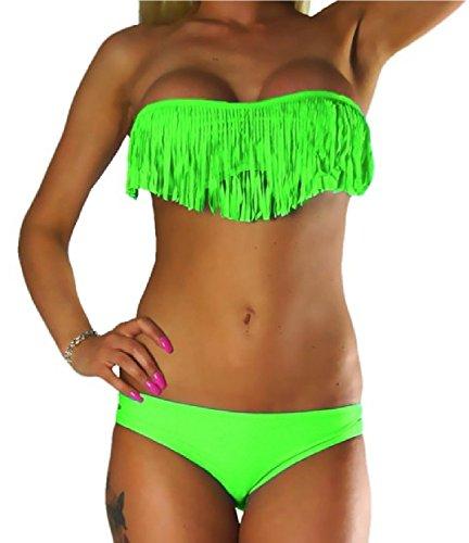 ALZORA Bikini Damen Tassel Fransen Fringe Push Up Set Top und Hose , 10411 Neongrün