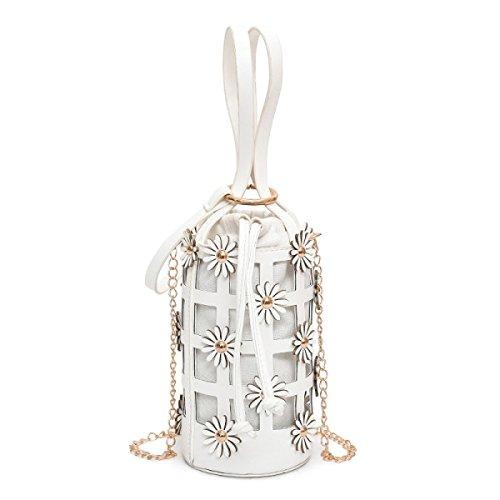 QPALZM Frau 2017 Handtasche Blume Tasche Kleine Frische Neue Einzelne Schulter Kette Eimer Tasche Messenger Bag White