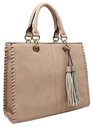 CRAZYCHIC - Damen Handtasche - Tote bag - Bicolor Pompon Nude Rosa