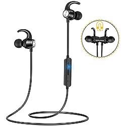 Gritin Écouteurs Bluetooth, Écouteurs sans Fil Sport Étanche Oreillette Bluetooth Magnétique Casque Stéréo Auriculaires, 7H Autonomie, Micro HD Antibruit pour iOS Android