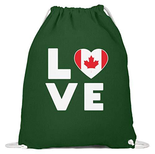 Schuhboutique Doris Finke UG (haftungsbeschränkt) Ich liebe LOVE Kanada Flagge Fahne Herz - Baumwoll Gymsac -37cm-46cm-Dunkelgrün