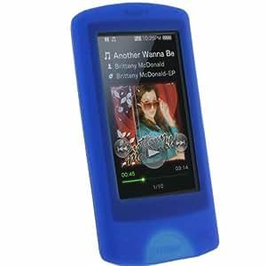 igadgitz Silikon Hülle Etui Case Schutzhülle Tasche Skin in Blau für MP3-Players Sony Walkman NWZ-A865 NWZ-A864 NWZ-A866 NWZ-A867 + Display Schutzfolie