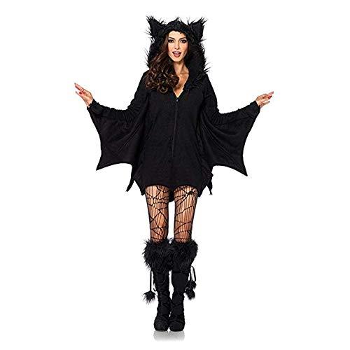 SHUIBIAN Halloween Fledermaus Kostüm Damen Umhang Schwarz Halloween Kostüm Set Vampir Kostüm Karnevalskostüm Fasching Cosplay Kostüm (XXL)
