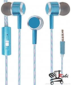 Premium Perfume / Fragrance In Ear Bud Headset Earphones With Mic Compatible For Reliance Jio LYF Flame 7 -Blue