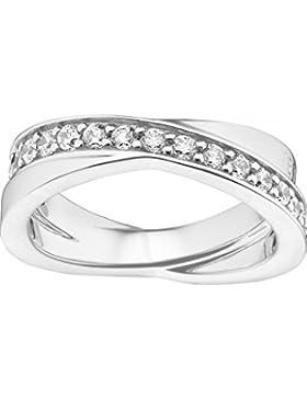 JETTE Silver Damen-Ring Wrapping II 925er Silber rhodiniert 31 Zirkonia 57, silber