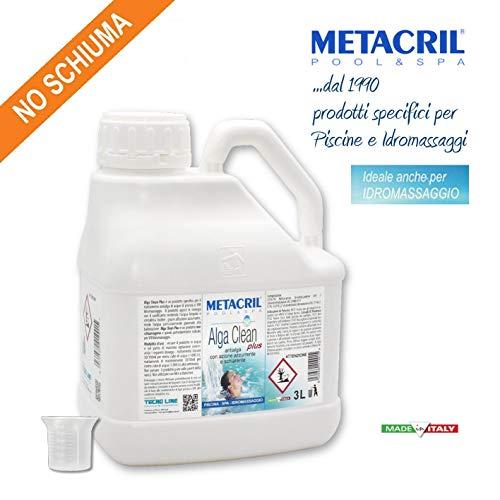 Antialgas no espumoso azul y aclarante + dosificador. Alga Clean Plus 3 litros para piscina y spa hidromasaje rígidos o inflables (jacuzzi,Teuco, Dimhora, Intex,Bestway,etc.) Envío inmediato.