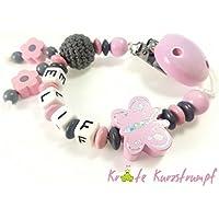 Schnullerkette mit Namen für Mädchen mit Glitzer-Schmetterling, Blumen und Häkelperle - rosa, anthrazit