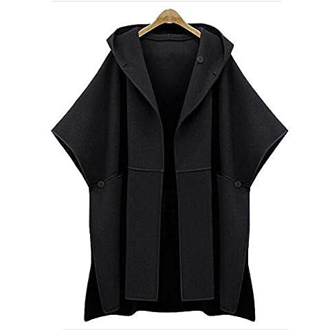 Femmes Encapuchonné Batwing Outwear Dames Mode Court Manches Cap Cardigan Manteau Haut 80Store (XL, Noir)