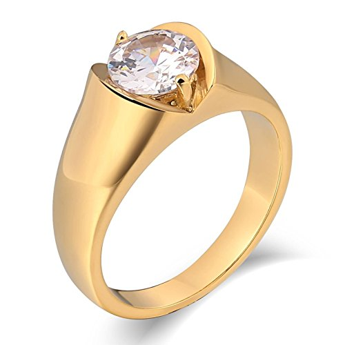 stahl Ring Gold für Herren Zirkonia Hochglanzpoliert Rund Breite 10 MM Freundschaftsring Gold Retro Ring Größe 65 (20.7) (Region 10 Kostüm)