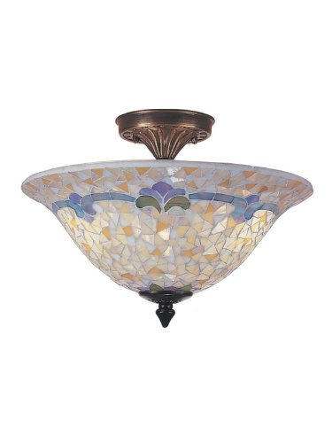 Dale Tiffany Flush (Dale Tiffany TM100553 Johana Mosaic Flush Mount Light, Antique Brass and Art Glass Shade by Dale Tiffany Lamps)
