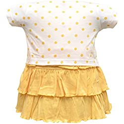 Orange and Orchid Baby Girls Cotton Frock (Yellow, 6-12 Months)