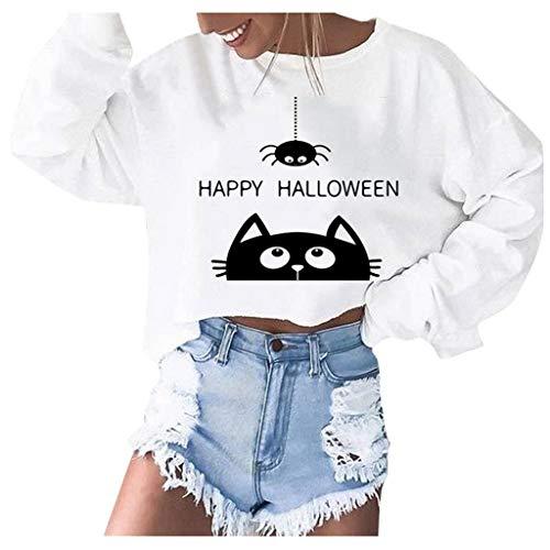 SEWORLD Halloween Kostüm Damen Herbst Hoodie Sweatshirt Briefe Kapuzenpullover Tops Bluse Bedrucktes Oberteil Langarm Bluse Freizeithemd Kleidung Dünner Pullover(Weiß,EU-34/CN-S)