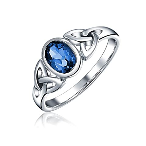 Blue Simulated Sapphire Glass Triquetra Celtic Knot Ring 925 Silver