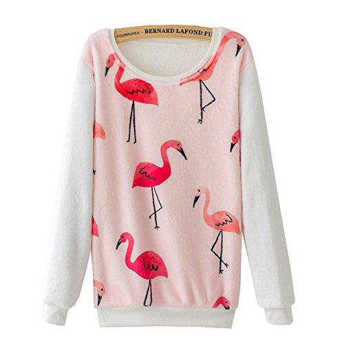 DaBag Sweater da Donna Ragazza Maglia Rosa Rosso Gru Maglione Caldo Camicie da Notte verde Felpe Manica Lunga Top T-shirt Autunno e Inverno Di Spessore Pullover Animalier na04