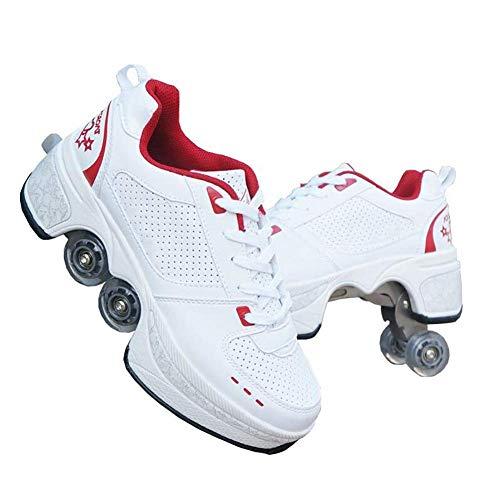 YXRPK Rädern Deformation Schuhe Skate Sportschuhe 2 in 1 Multifunktions 4 Rad Verstellbare Rollschuhe, Kann Fitness Sein, Sehr Stabil Und Leicht Zu Erlernen,40