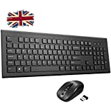 Wireless Keyboard and Mouse Set【Chiclet Design, Long Battery Life】Patuoxun Ergonomic 2.4G Cordless Keyboard & Mouse Combo with Nano USB Receiver for Computer PC Apple Mac Windows, UK Layout
