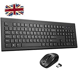 Wireless Keyboard and Mouse Set【Chiclet Design, Long Battery Life】Patuoxun  Ergonomic 2 4G Cordless Keyboard & Mouse Combo with Nano USB Receiver