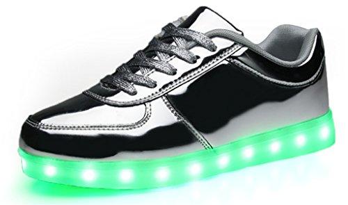 NEWZCERS Unisexe femmes usb recharger LED light-up chaussures de sport Argent